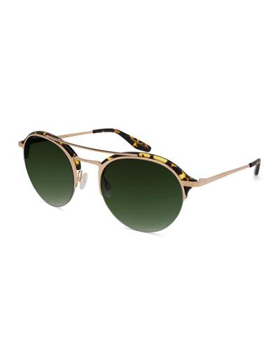 Men's Beauregard Round Acetate & Titanium Sunglasses, Heroine Chic/Gold/Julep