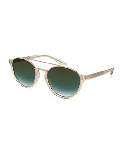 Boleyn Half-Rim Acetate & Titanium Sunglasses, Rose Golden