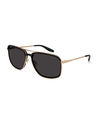 Magnate Acetate & Titanium Rectangular Aviator Sunglasses, Black/Golden