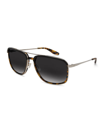 Men's Magnate Polarized Rectangular Aviator Sunglasses, Black Amber ...