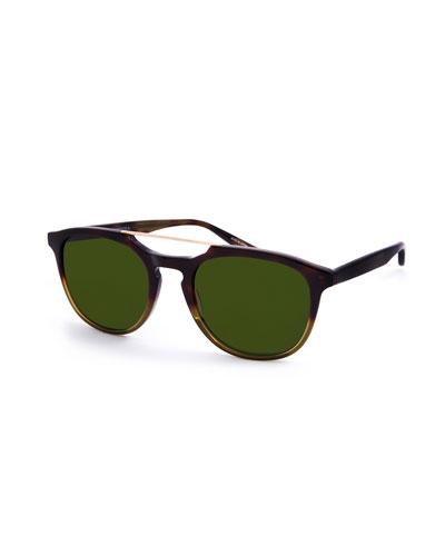 Men's Rainey Round Top-Bar Sunglasses, Gradient Tortoiseshell