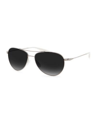 Men's Lovitt Polarized Metal Aviator Sunglasses, Silver/Nightfall