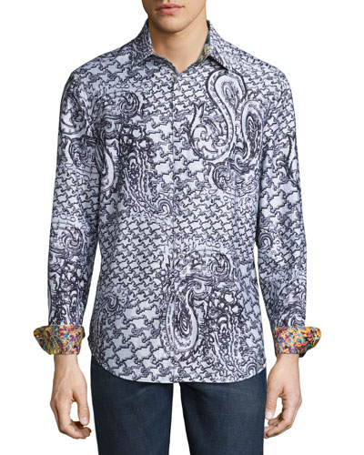 Pradesh Paisley Sport Shirt, Gray