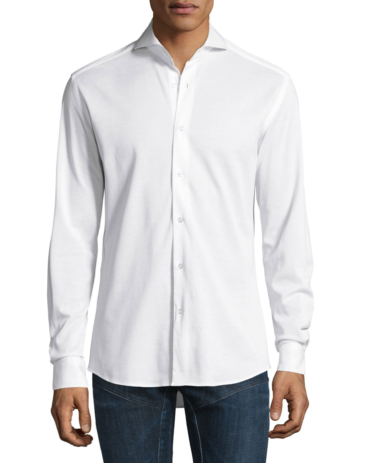 Knit Sport Shirt, White