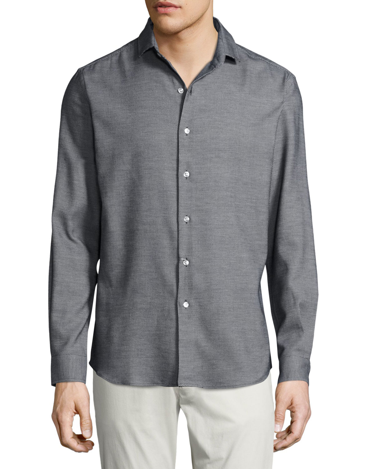 Textured Silk-Cotton Sport Shirt, Black