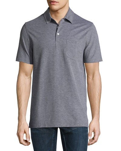 Melange Polo Shirt, Coal