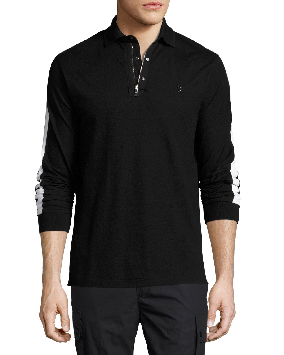 Striped-Sleeve Zip-Front Polo Sweater, Black