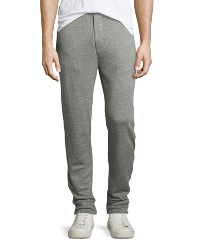 Ribbed Modal-Pima Cotton Jogger Pants, Gray