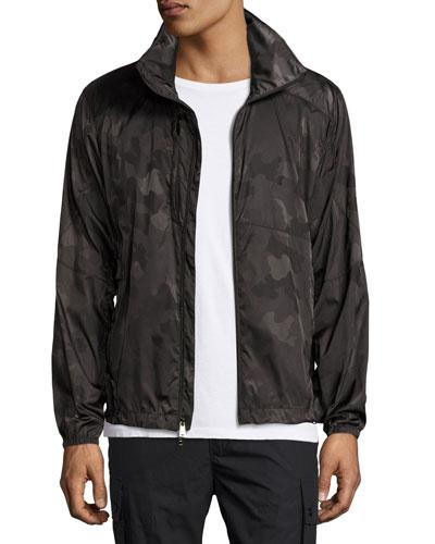 Nylon Camo Track Jacket, Dark Green