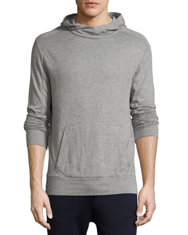 Ribbed Modal-Pima Cotton Hoodie, Gray
