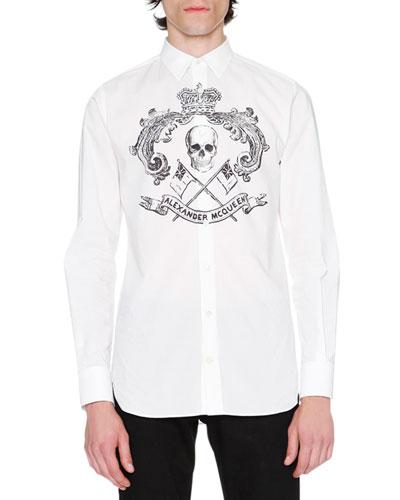 Skull Crest Woven Shirt, White/Black