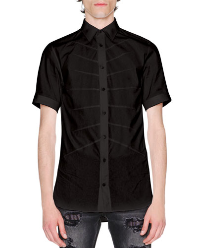 Rib Cage Velvet Short-Sleeve Shirt, Black