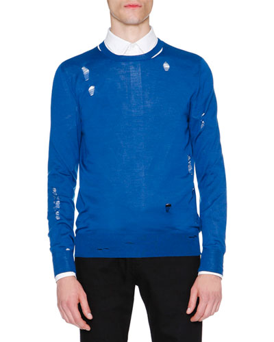 Distressed Crewneck Sweater, Blue