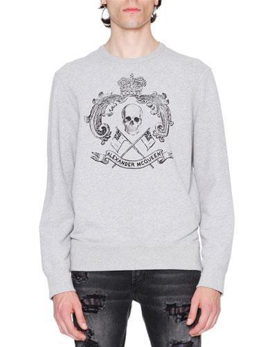 Skull Crest Sweatshirt, Gray/Black