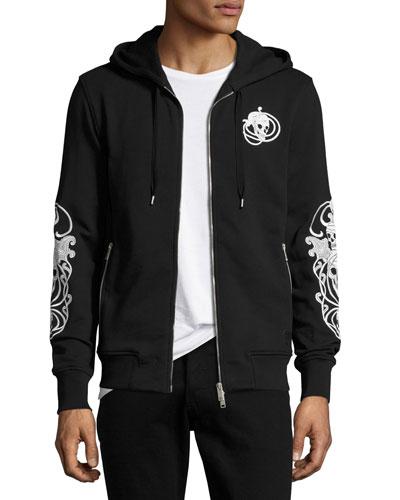 Skull Zip-Front Hoodie, Black