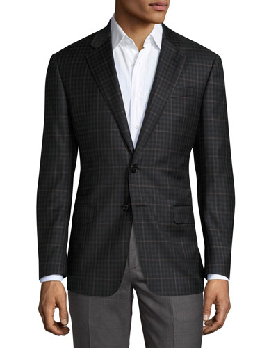 Windowpane Check Two-Button Sport Coat, Charcoal/Brown