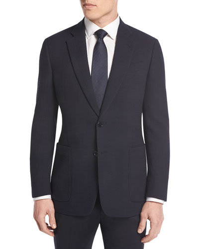 Textured Two-Button Sport Coat, Navy
