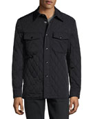 Quilted Shirt Jacket, Navy