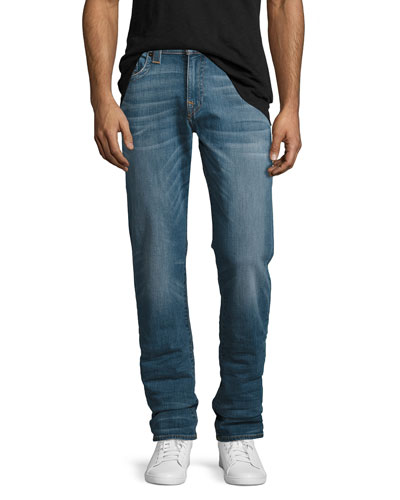 Geno Straight-Leg Denim Jeans, Blue