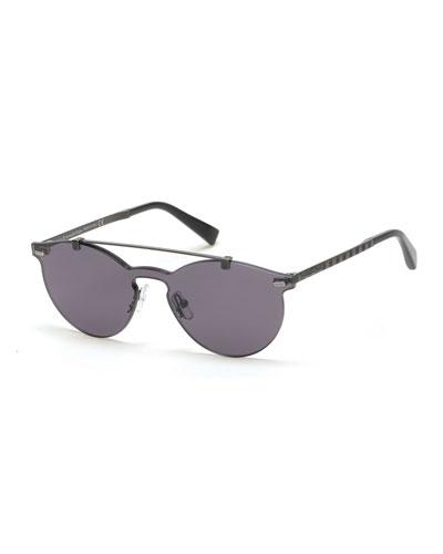 Rimless Double-Bar Round Sunglasses, Gunmetal