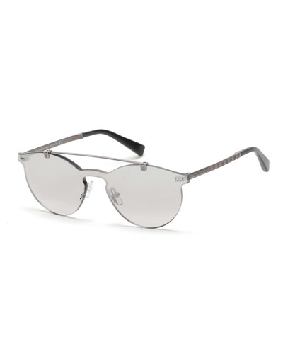 Rimless Double-Bar Round Sunglasses, Silver