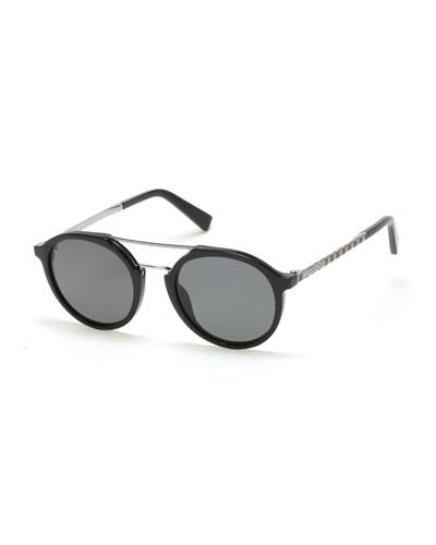 Acetate & Titanium Double-Bar Round Sunglasses, Black