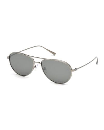 Titanium Aviator Sunglasses, Silver