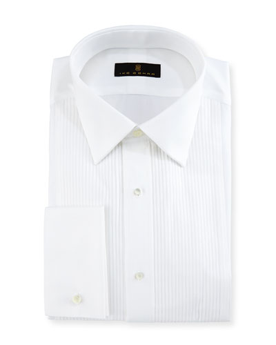 Gold Label Pleated-Bib Tuxedo Shirt, White