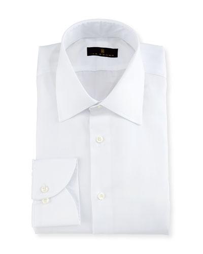Gold Label Micro-Herringbone Dress Shirt, White