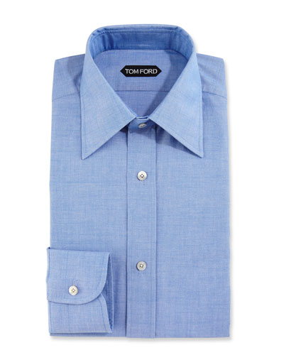 Slim-Fit Solid Dress Shirt, Blue