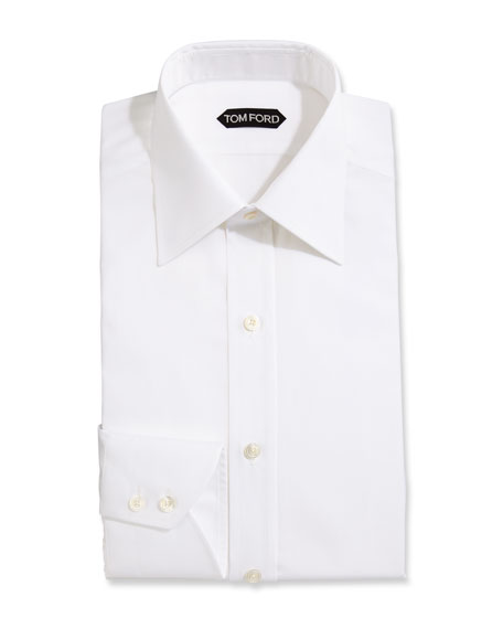 TOM FORD Slim-Fit Solid Dress Shirt, White