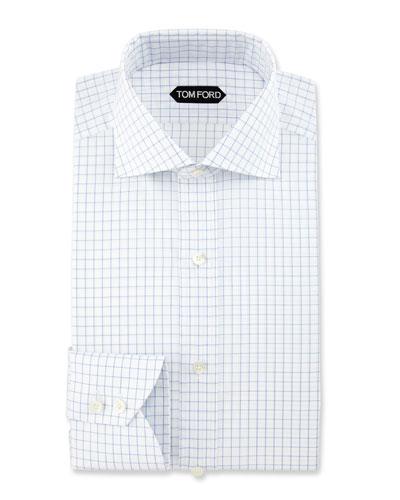 Slim-Fit Box Check Dress Shirt, Blue