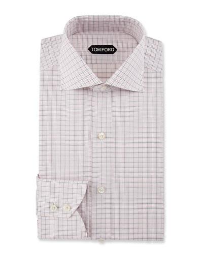 Slim-Fit Grid Check Dress Shirt, Pink