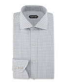 Slim-Fit Check Dress Shirt, Blue