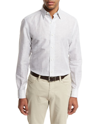 Melange Linen-Cotton Sport Shirt, Light Gray