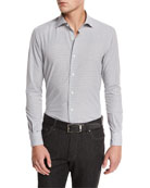 Gingham Woven Sport Shirt, Medium Gray Check