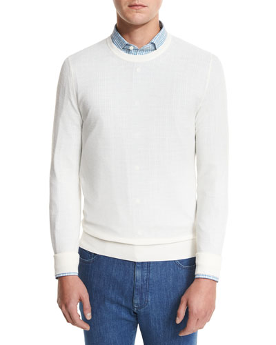 Textured Crewneck Sweater, Natural