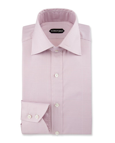 Slim-Fit Plaid Dress Shirt, Purple