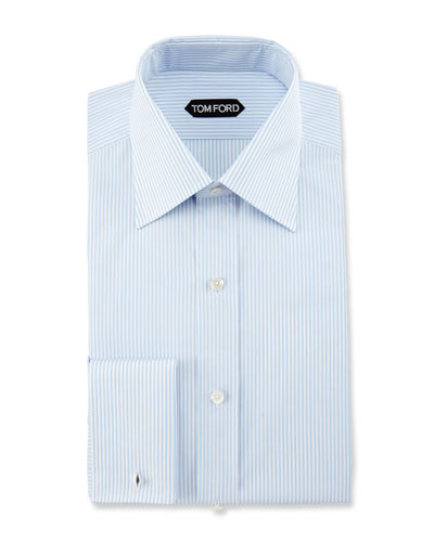 Slim-Fit Striped Dress Shirt, Light Blue