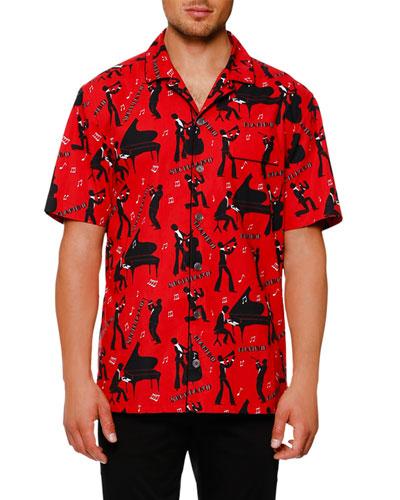 Mambo-Print Short-Sleeve Shirt, Red