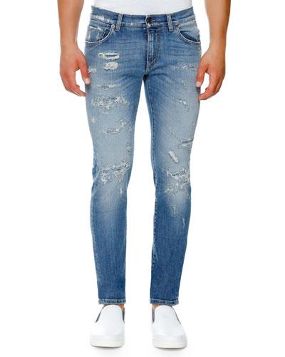 Distressed Stretch-Denim Skinny Jeans, Light Blue