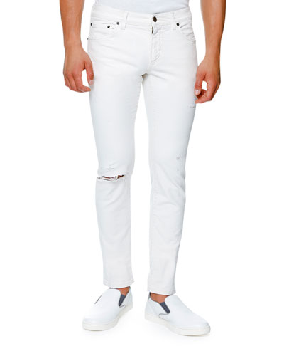 Classic Distressed Stretch-Denim Skinny Jeans, White