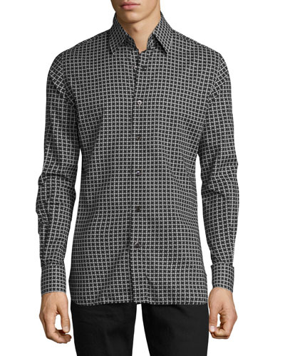 Houndstooth-Print Sport Shirt, Black