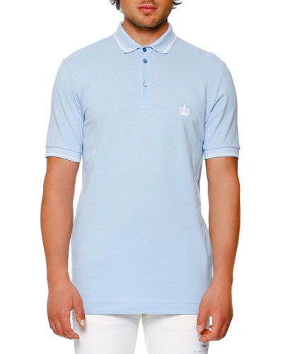 Tipped Piqué Polo Shirt, Light Blue