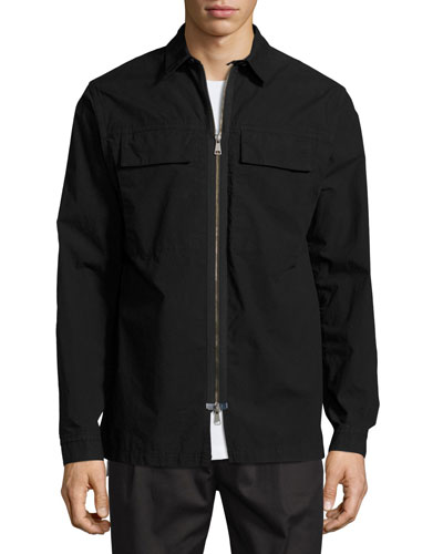 Zip-Front Shirt Jacket, Black