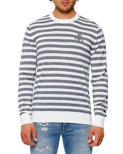Striped Virgin Wool Crewneck Sweater, Gray/White