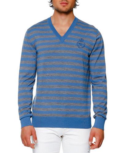Striped Virgin Wool V-Neck Sweater, Blue/Gray