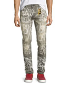 Logo Graffiti-Paint Skinny Jeans, Gray