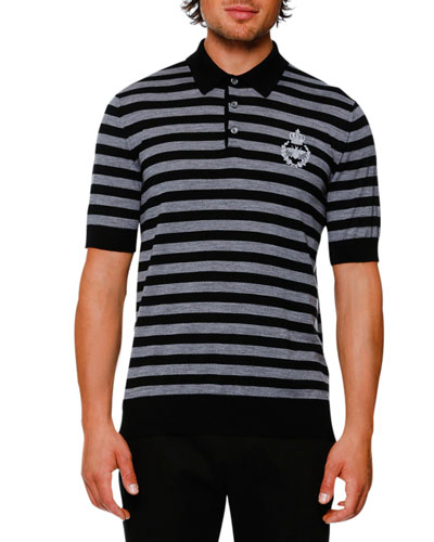Striped Virgin Wool Polo Sweater, Black/Gray