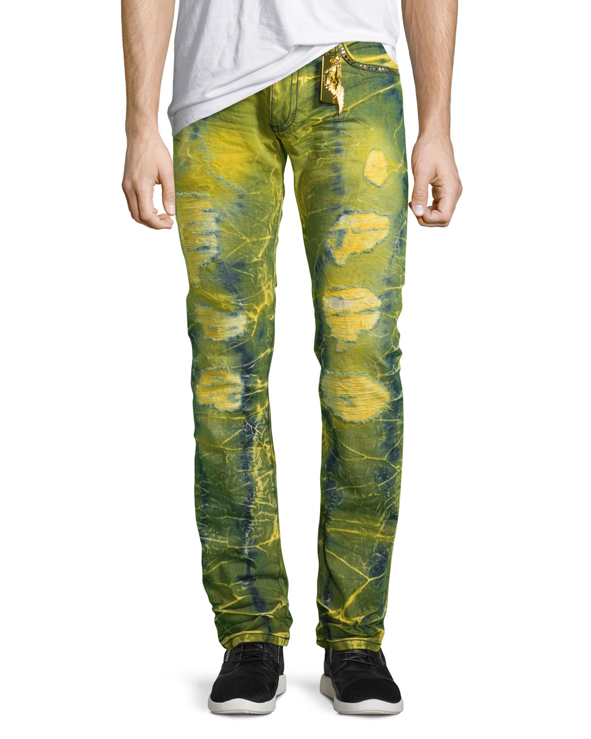 Long-Flap Slim Acid-Wash Jeans, Lime